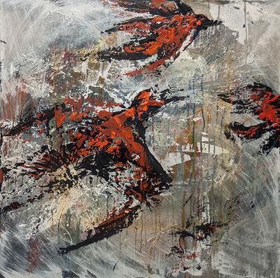 Birds of a Feather 36 x 36  acrylic on Canvas  $1950