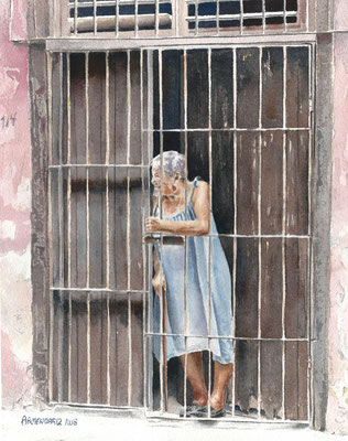 CON TU PERMISO, TONY ARMENDARIZ (Water color on paper)    $600