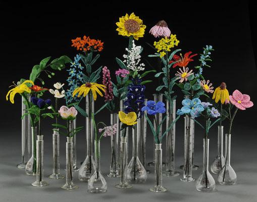 "Glass Prairie Installation  by Lindsay Obermeyer  14 x 36"" x 24"" $6000- 25 pcs, $250 ea"