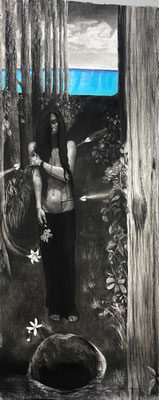 """Black and White Hearts by Amy Araujo  Charcoal and Acrylic on Paper Amy Araujo 108"""" x 48"""" x 0""""  $6000"""
