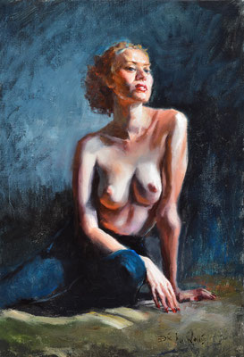 TOPLESS IN BLACK TIGHTS ERIC WALLIS OIL ON LINEN $950
