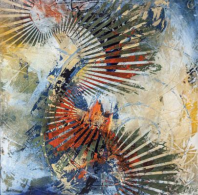 """Kaliediscape""  36""x 36"" x1.5"" Acrylic on Gallery wrap canvas SOLD"