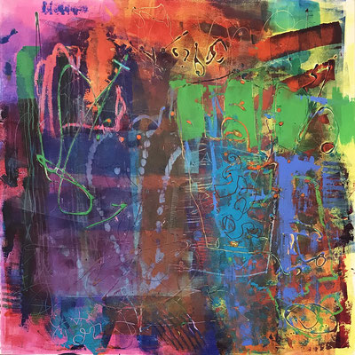 """Universal Dilemma, acrylic, oil and cold wax on panel 30"""" x 30"""" x 1.5""""  Denise Presnell $2100"""