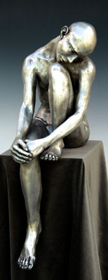SEATED MAN BOB CLYATT SILVER BRONZE STATUE $6000