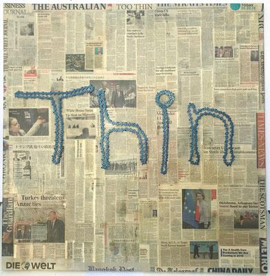 "A Thin Slice Newspaper, metal 49"" x 49"" x 2"" by Brian Mitchell  $2400.00"
