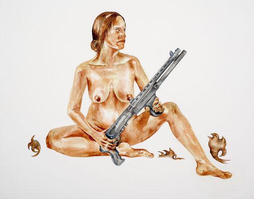Death of the Sweetheart,  Rosemary Meza -Des Plas,   watercolor on aquaboard