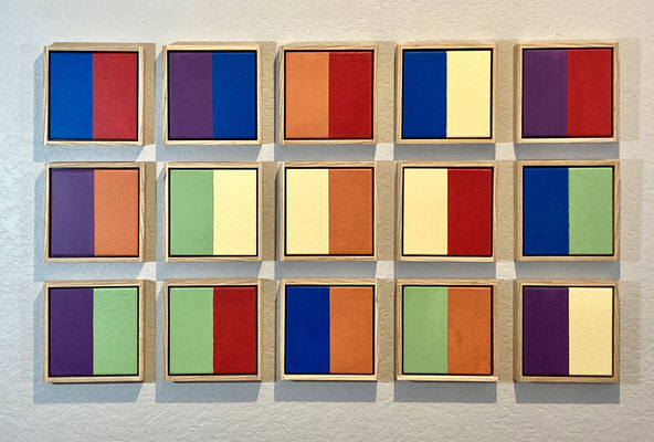 """Colors of the Sun Wood panels with acrylic paint 22"""" x 38"""" x 1"""" Gary Freeman  $750"""