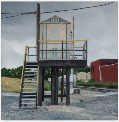 Elevated Signal Shed, Kansas City, KS 2017 Oil on Panel $500.00