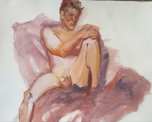 MALE NUDE CATHY KLINE OIL ON CANVAS $600