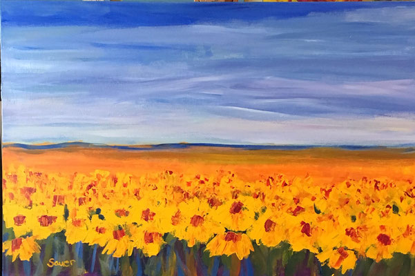 Thick Sunflowers  by Beth Sauer  Acrylic on Canvas 24 x 36  $1700