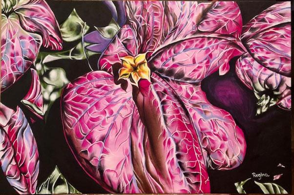 """Flor en el jardin oil on canvas 24"""" x 36"""" x 1""""  Maria Regina  SOLD"""