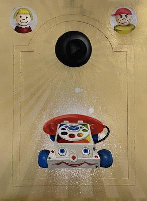 "Long Distance Call Oil, spray paint, gold leaf 16"" x 11.75"" x 1"" Jim Norris  $300"