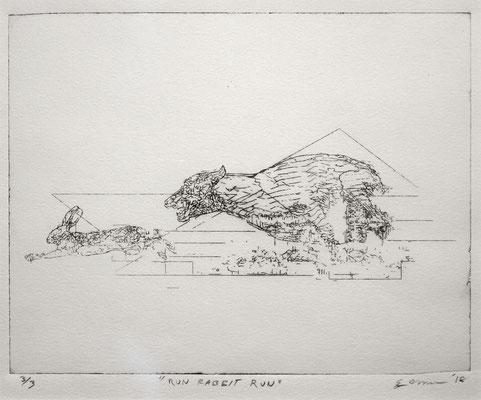 """Run Rabbit, Run drypoint engraving 9"""" x 12"""" x 2"""" Trey Morgan  $200"""