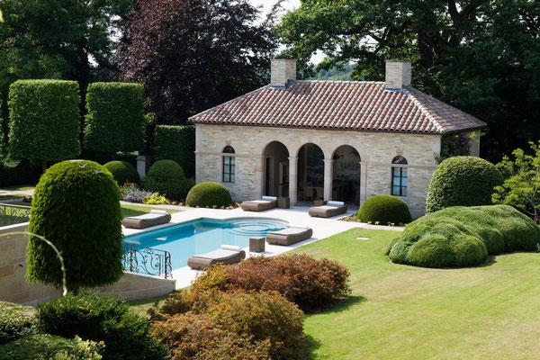 poolhouse et piscine domaine Le Chatel, Beaulieu-en-Argonne