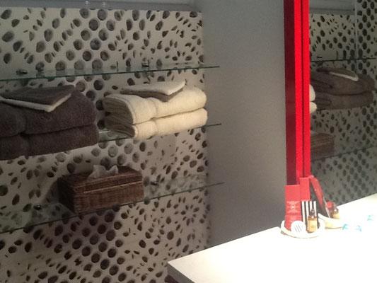 détail salle de bain avec douche, gîte Maison Blanche, Beaulieu-en-Argonne, Meuse