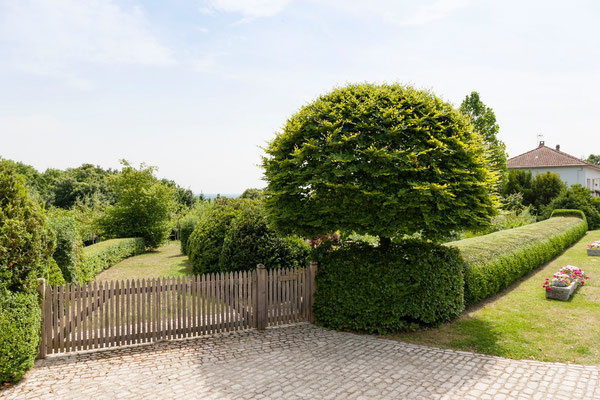 portaille en bois donnant sur le verger, gîte Maison Blanche et Koetshuis, Beaulieu-en-Argonne