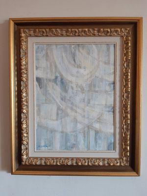 """Lyrical abstract 1"" con cornice d'esempio– tecnica mista su carta, cm. 30 x 40 - € 60"