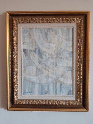 """Lyrical abstract 1"" con cornice d'esempio– tecnica mista su carta, cm. 30 x 40 - € 150"