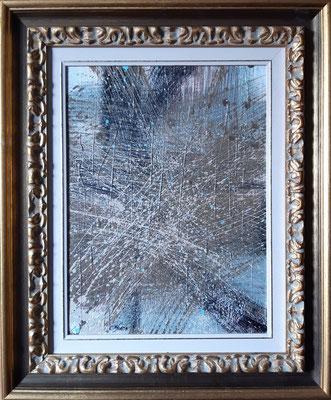 """""""Fu solo un pretesto"""" con esempio di cornice, tecnica mista su tela, cm. 30 x 40 – € 350"""