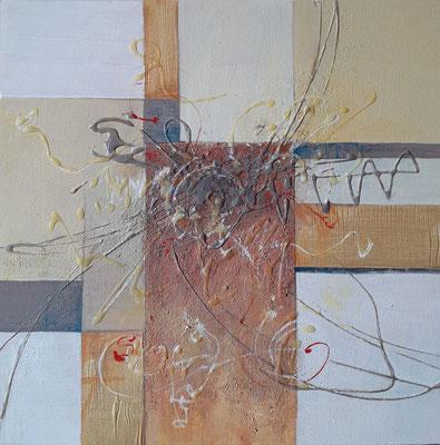 """Geometric abstract"", tecnica mista su tela, cm. 40 x 40 x 4 –  € 80"