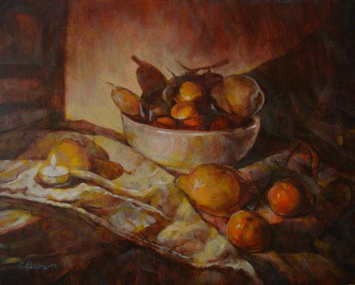 """""""Lume e frutta"""" - olio su tela, cm. 40 x 50 - Dalmine, collezione privata"""