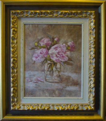 """Peonie rosa"" - olio su tela, cm. 24 x 30  ESEMPIO DI INCORNICIATURA"