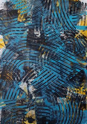 """The blue wave"", acrilico su carta, cm. 29,7 x 42 – € 250"