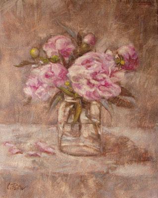 """""""Peonie rosa"""" - olio su tela, cm. 24 x 30 - € 220,00"""