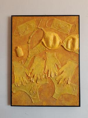 """Archeology: Summer 2020"", tecnica mista su tavola, cm. 60 x 80 - € 750"