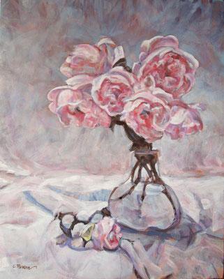"""""""Peonie - Omaggio a D. Perrin"""" - olio su tela, cm. 40 x 50 - Vimodrone, collezione privata"""