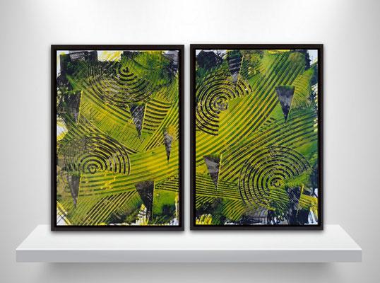 """Dittico """"The yellow wave"""", due tecniche miste su carta Yupo, cm. 29,7 x 42 – € 140"""