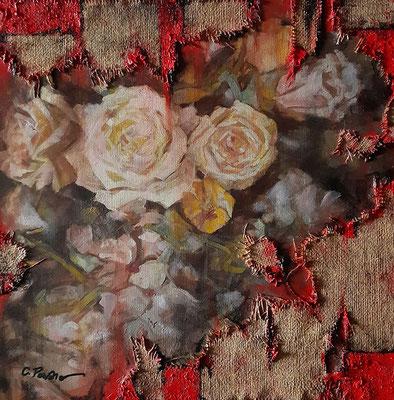 """""""Anche i fiori soffrono"""", tecnica mista su tela, cm. 40 x 40 - Taiwan, collezione privata"""