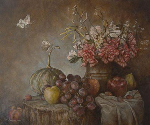 """""""Natura morta con farfalle"""" - olio su tela, cm. 50 x 60 - Pioltello, collezione privata"""