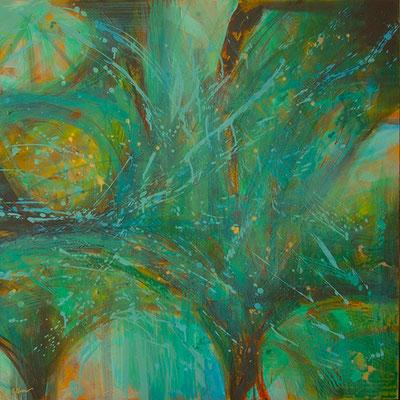 """""""Vegetalia, parte 5"""", acrilico su tela, cm. 100 x 100 - € 1600,00"""