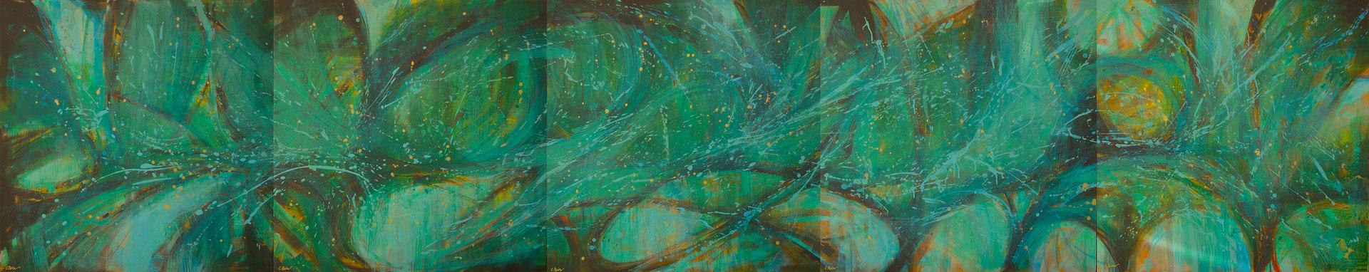 "Polittico ""Grande Vegetalia"", acrilico su tela, cm. 100 x 500"