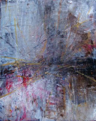 """""""Voci in lontananza"""" olio e cera fredda su tavola, cm. 24 x 30 - Levate (BG), collezione privata"""