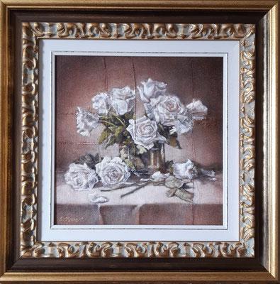 """""""Le rose dell'attesa"""" (con cornice), olio su tavola, cm. 30 x 30 - € 400,00"""
