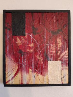 """""""Combattimento interiore"""", tecnica mista su tela, cm. 22,5 x 26 - € 400"""