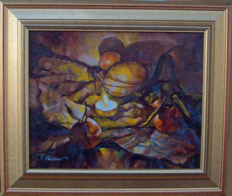 """Lume ed agrumi"" cornice - olio su tela, cm. 24 x 30 - € 130,00"