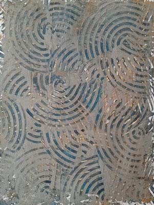 """""""Blue monotype"""", monotipo ad acrilico su carta Fabriano tela, cm. 30 x 40 – € 250"""