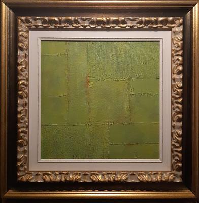 """""""In mezzo al giardino dell'Eden"""" con esempio di cornice- tecnica mista su tavola, cm. 30 x 30 - € 300,00"""