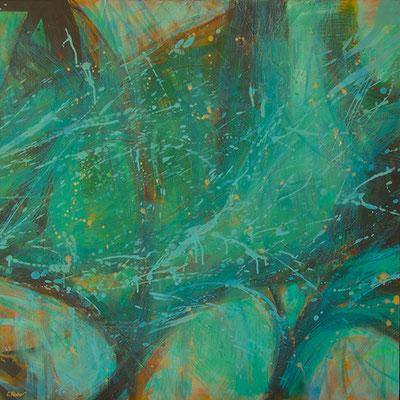 """""""Vegetalia, parte 4"""", acrilico su tela, cm. 100 x 100 - € 2100,00"""