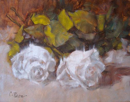 """""""Piccole rose bianche"""" - olio su compensato, cm. 20 x 25 - € 180,00"""
