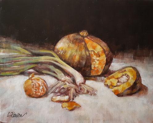 """""""Zucca e cipollotti"""" - olio su tela, cm. 24 x 30 - € 180,00"""