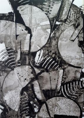 """Rhythmic black"", tecnica mista su carta Yupo, cm. 29,7 x 42 – € 130"