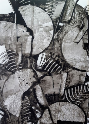 """Rhythmic black"", tecnica mista su carta Yupo, cm. 29,7 x 42 – € 250"