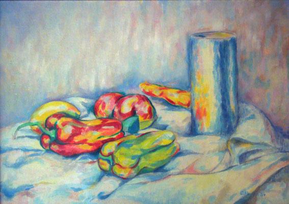 """""""Natura morta con peperoni"""" - olio su tela cm. 30 x 40 - Cernusco sul Naviglio, collezione privata"""
