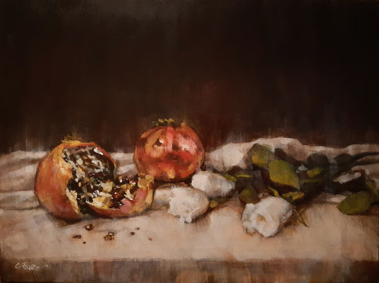 """""""Rose e melagrane"""" - olio su tela, cm. 30 x 40 - € 350,00"""
