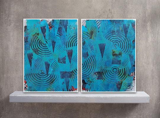 """Dittico """"Turquoise friendship"""", due tecniche miste su carta Yupo, cm. 29,7 x 42 – € 120"""