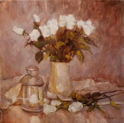 """""""Rose bianche con lume"""" - olio su tela, cm. 40 x 40 - € 260,00"""